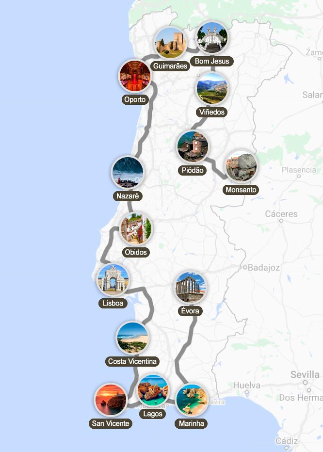 Mapa de mi ruta por Portugal en 15 días