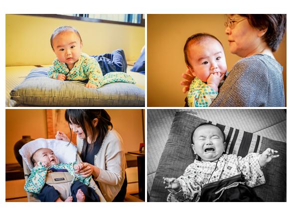 4か月の赤ちゃん うつ伏せで顔を上げたところ 泣き顔 袴ロンパース