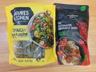 Nature's Kitchen Spinach Fettuccine and Alternative Meat Co Bolognese