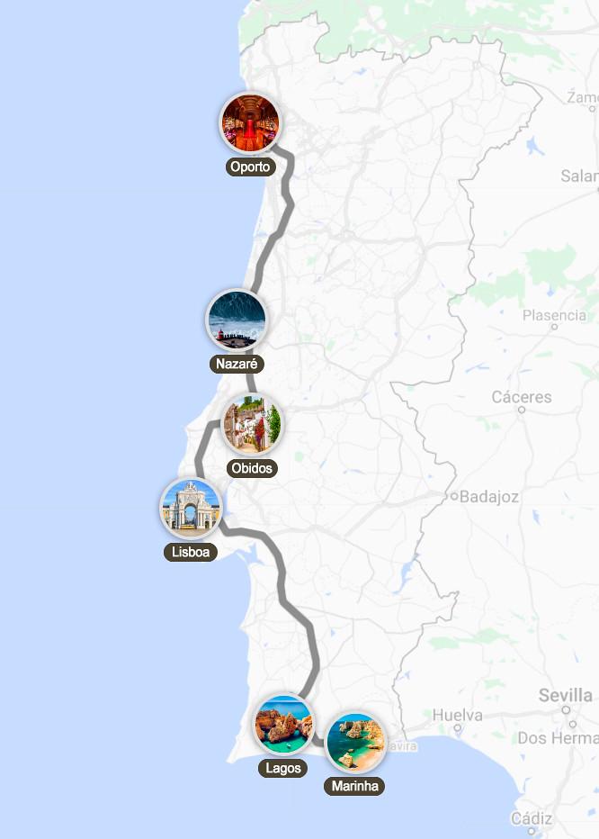 Mapa e itinerario por Portugal en 5 días