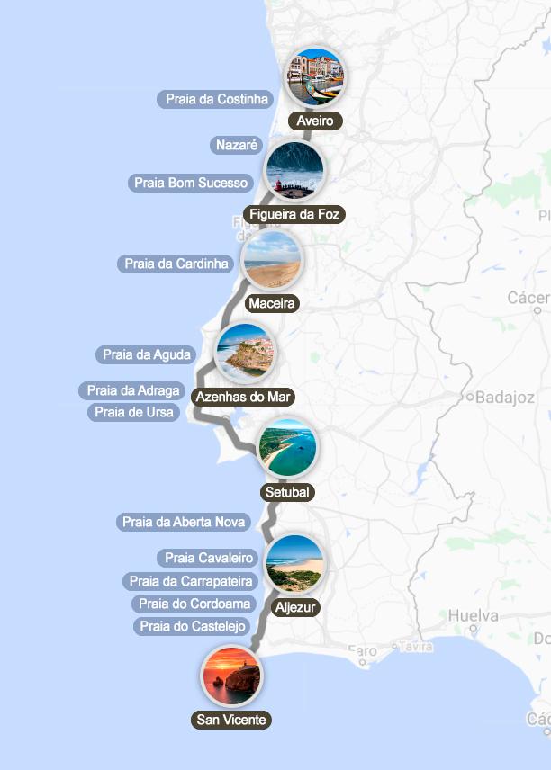 Mapa de la Ruta por la Costa de Portugal en coche