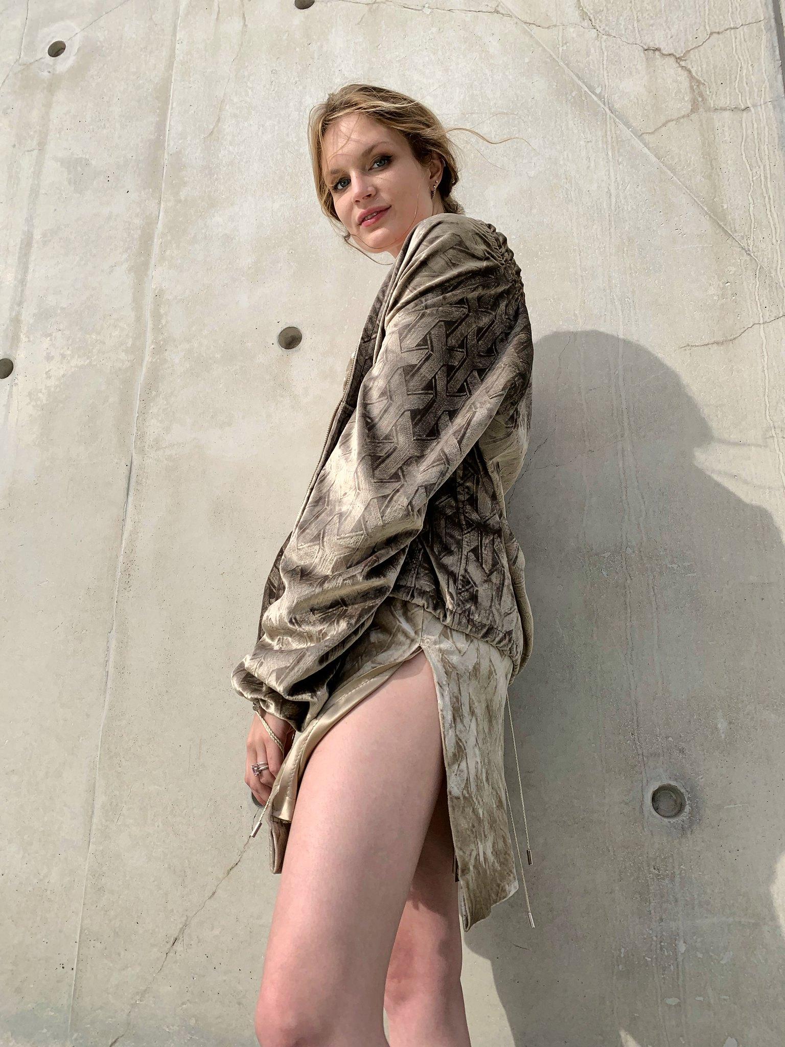 Embossed velvet jacket and dress