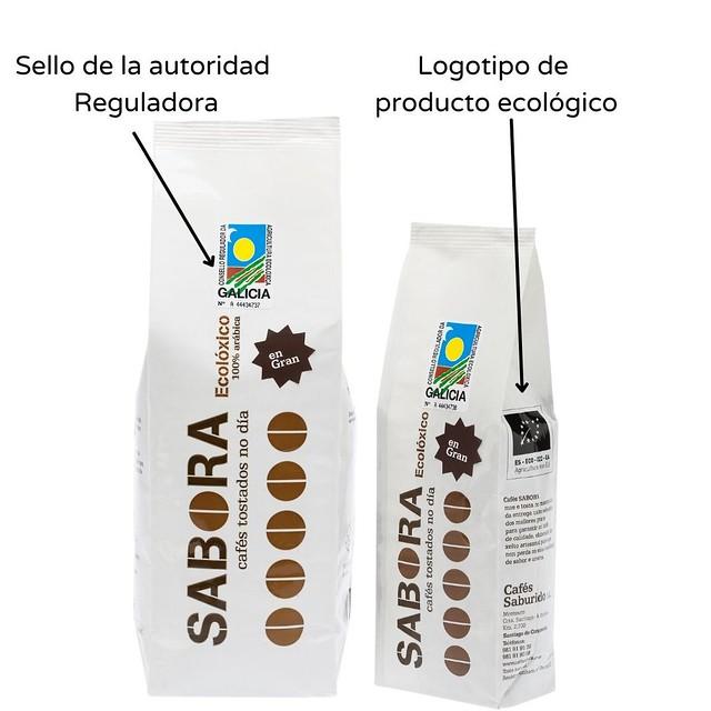 Sello y logotipo de café ecológico certificado