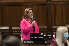 Rep. Nicole Klarides-Ditria addresses the House chamber in recognition of Greek Pan-Pontian Genocide Remembrance Day.
