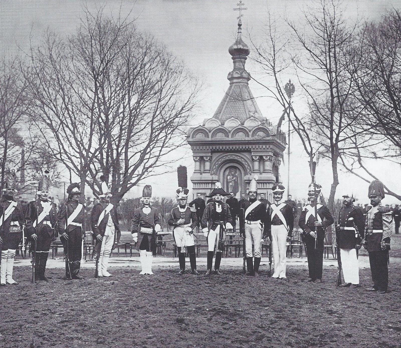 1906. Лейб-гвардии Гренадерский полк. Солдаты в исторических формах полка (1756-1856 гг.)