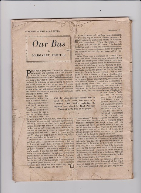 1954 Coach Journal and Bus Review magazine. article, referring to the Tonmawr Creamline bus service.