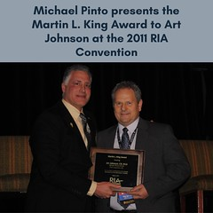 Michael Pinto presents the Martin L. King Award to Art Johnson at the 2011 RIA Convention