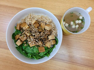 Rice, spinach, Japanese Tofu, Japanese dressing, sprinkles