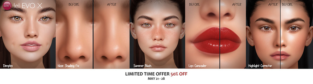 Evo X Dimples, Nose Shading Fix, Summer Blush, Lips Concealer & Highlight Corrector