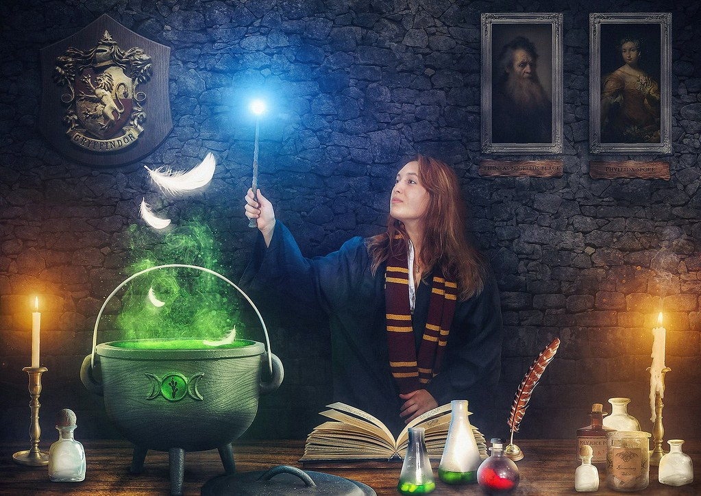 Harry Potter inspired photo compositing showing a women standing at a desk making potion.
