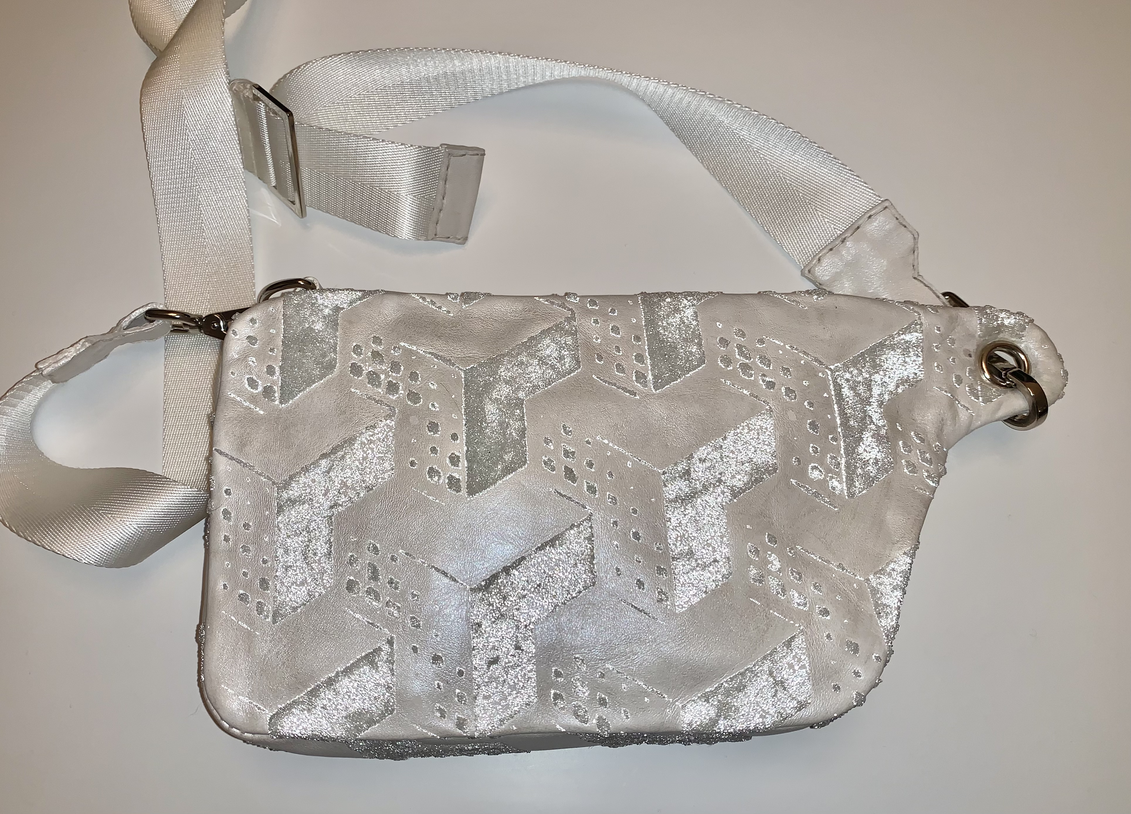 Glass stenciled crossbody leather bag