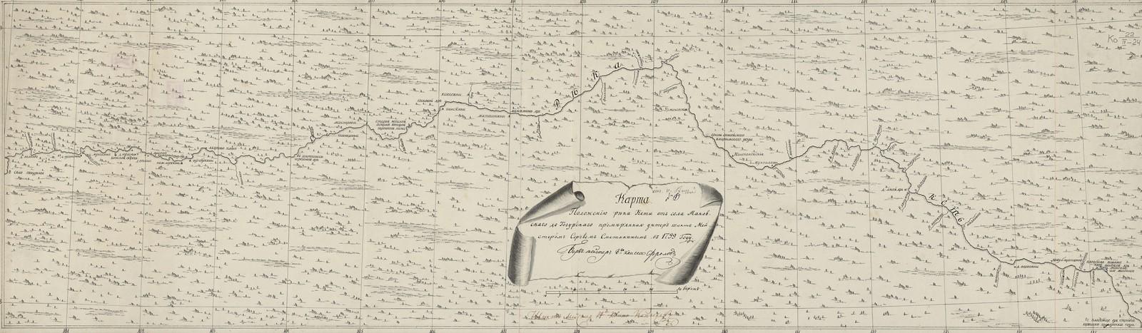 Карта. Положению реки Кети от села Маковскаго до Тогурскаго, промерянная унтер шихт Мейстером Сергеем Сметаниным в 1799 году.Берг мейстер 8-го класса Фролов; Шихт Мейстер 14-го класса Копылов