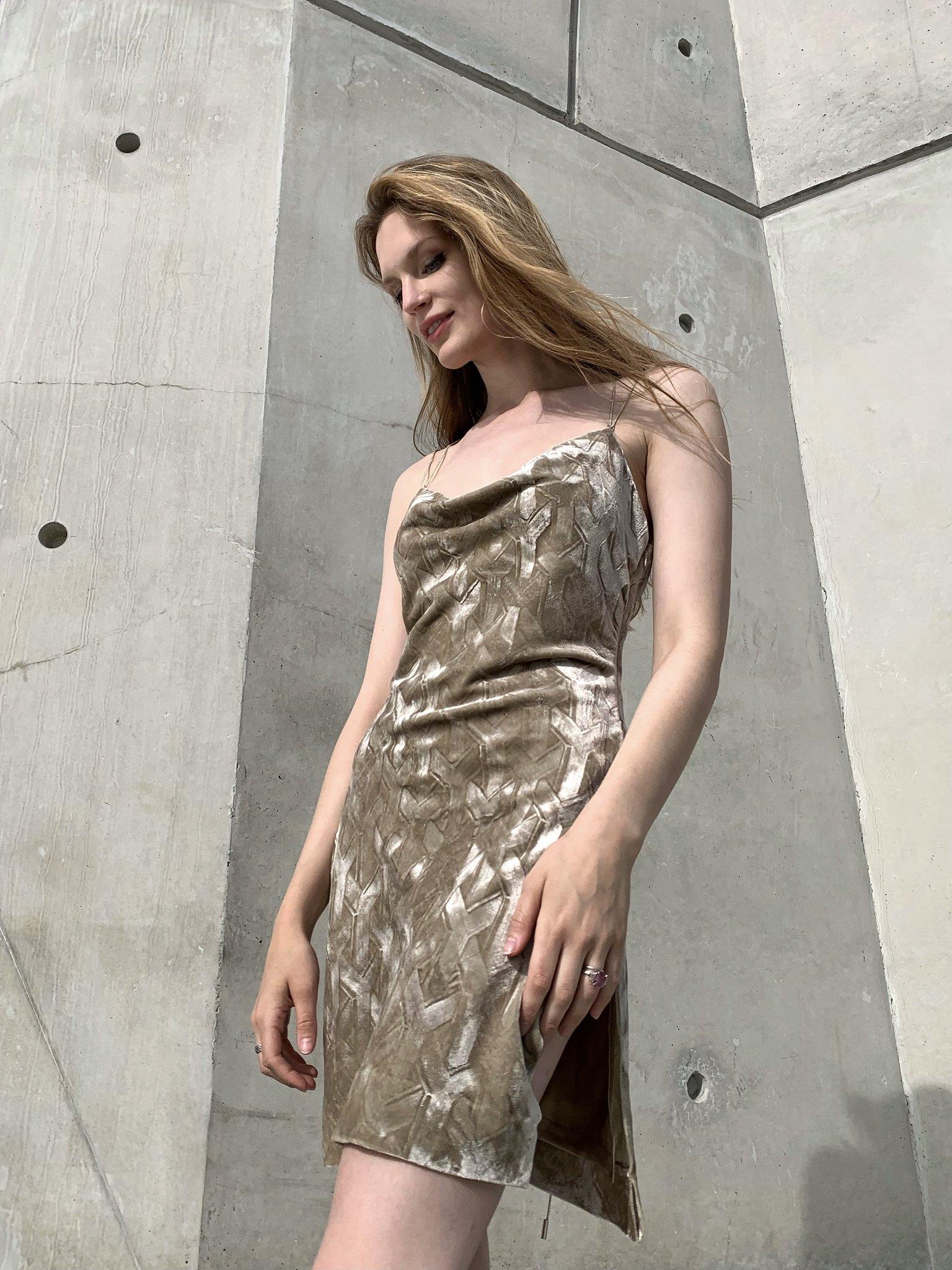 Embossed bias cut velvet dress