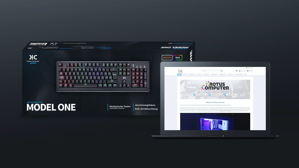 Mockup of a custom designed keyboard, its packaging and the website announcement.