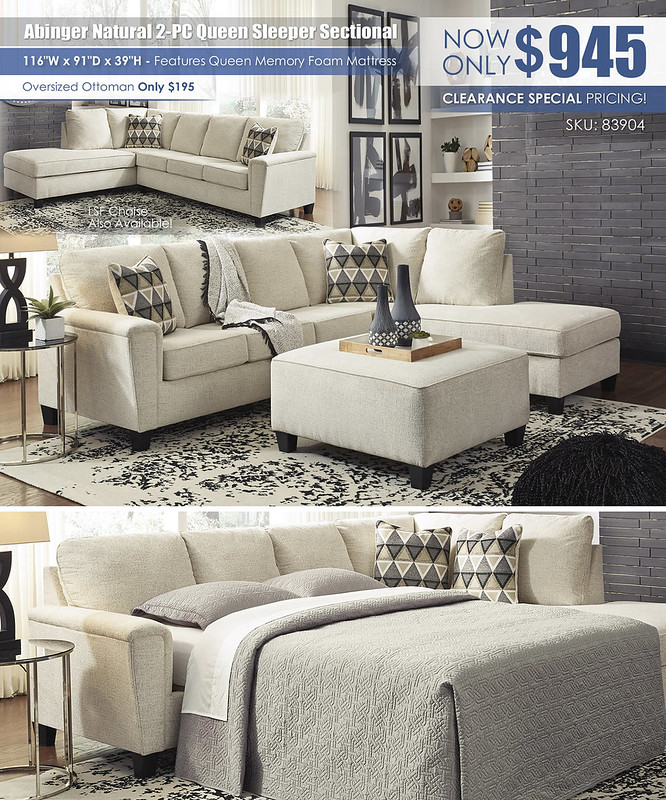 Abinger Natural 2-PC Sleeper Sectional_83904