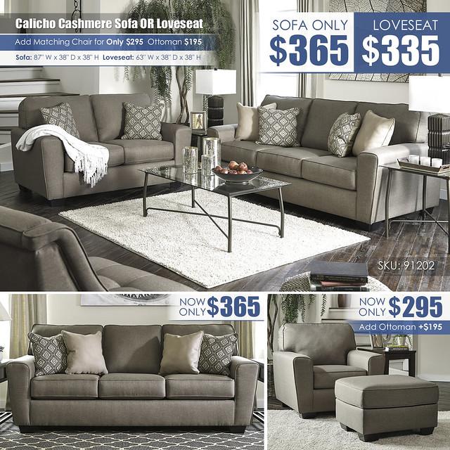 Calicho Cashmere Sofa OR Loveseat_91202