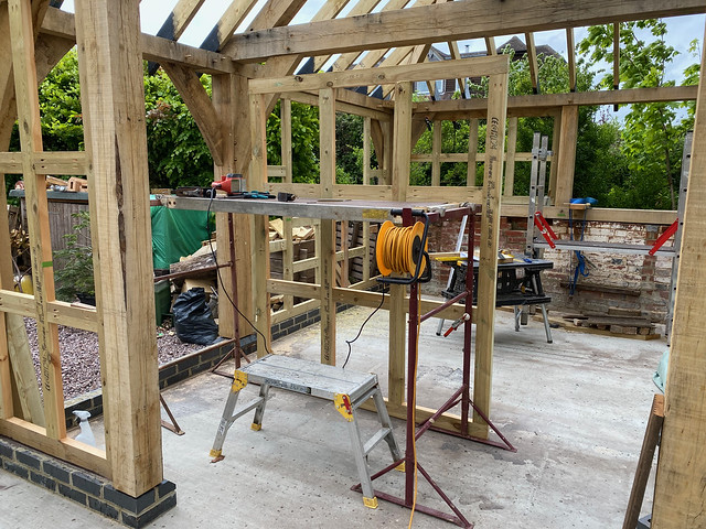 Plaing down the top of the front right wall panel frame