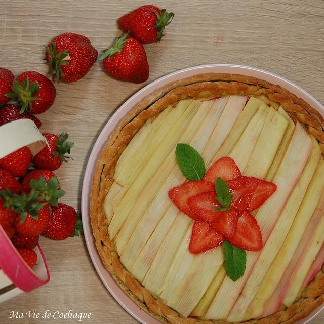 tarte fraises rhubarbe sans gluten sans lactose et index glycémique bas
