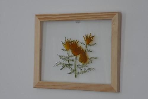 Peinture du verre Chardons alpins Marion Vidaling