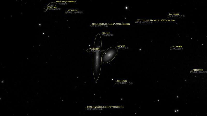 NGC4302, NGC4298 (2021/3/14 23:01) (17等までの銀河をアノテーション)