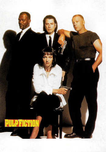 Samuel Jackson, John Travolta, Bruce Willis and Uma Thurman in Pulp Fiction (1994)