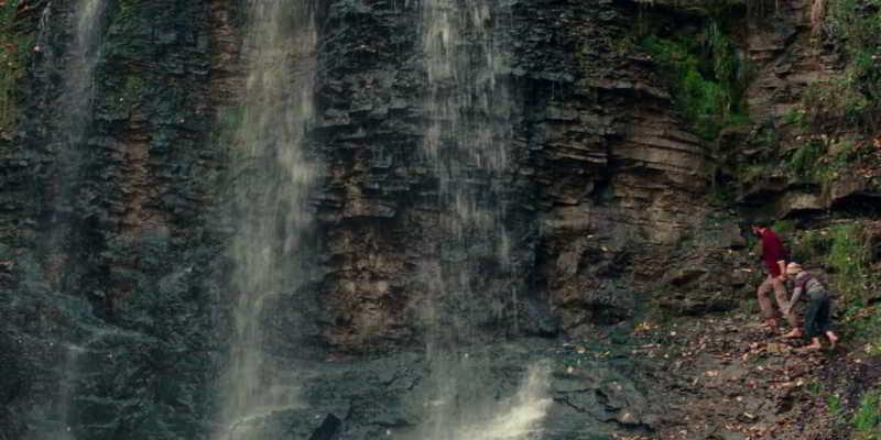The waterfall scene
