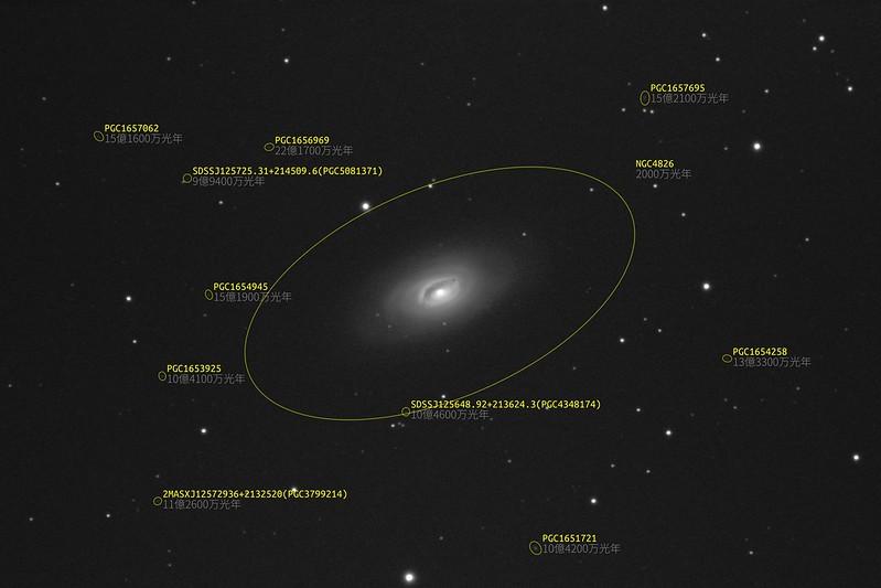 M64 (2021/5/3 21:42) (17.5等までの銀河をアノテーション)