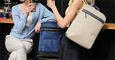 """The 15"""" Newport Backpack (left) and the 15"""" Newport Ultra Slim Backpack are two of the six designs in Targus' Newport Collection."""