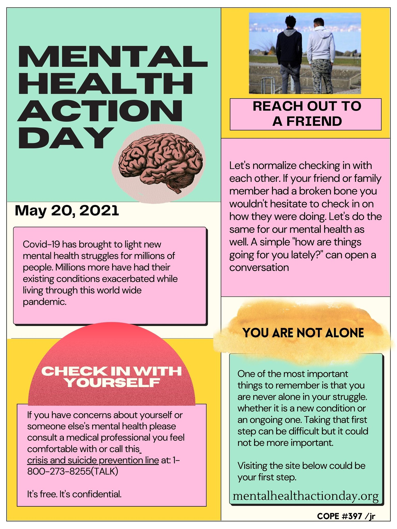Stop Asian Hate Yellow Green Pink Mental Health and Safety Tips Powerful and Bold Typographic Poster