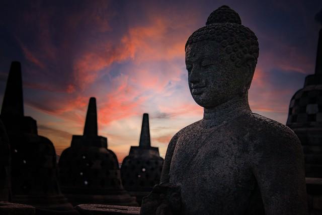 The Buddha At Borobudur, Indonesia