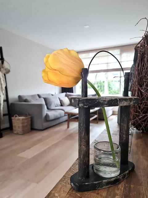 Gele tulp in windlicht landelijke stijl