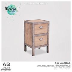 Atelier Burgundy . Tula Nightstand
