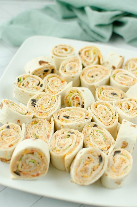 Taco pinwheels on a white plate