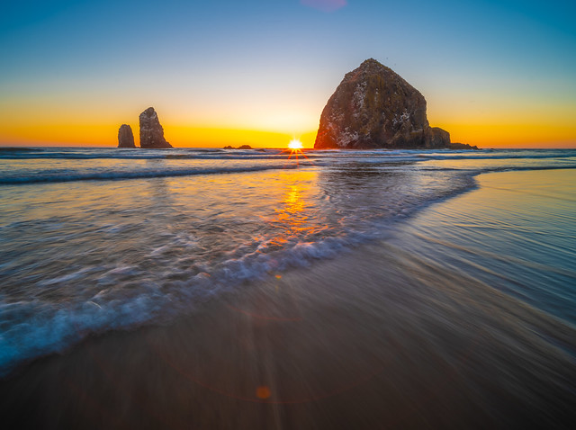 Cannon Beach Haystack Rock Sunset Oregon Coast Summer Blue Skies Ocean Art Seascape! 45EPIC Elliot McGucken Fuji GFX100 Fine Art Landscape Nature Photography! Master Medium Format Fine Art Photographer! Fujifilm GFX 100 & Fujifilm FUJINON Lens!