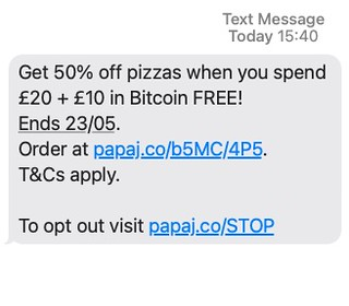 Promotional offer from Papa Johns Pizza UK