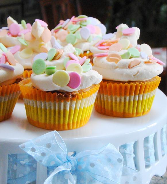 Mango Cupcakes with Polka Dots