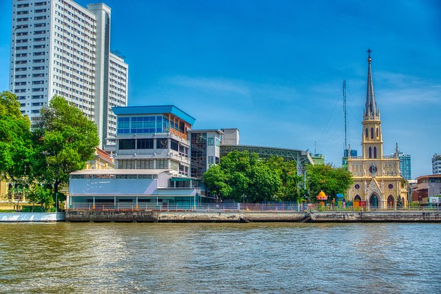 Holy Rosary Church by the Chao Phraya river in Bangkok, Thailand