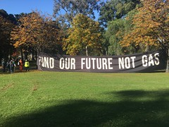 Fund our future no gas banner - Climate Strike Melbourne 21 May 2021