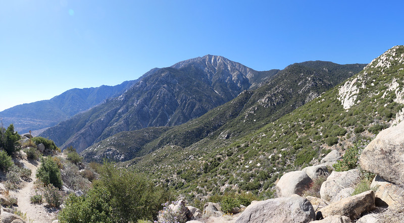San Jacinto Peak was showing behind Folly Peak. The cleft is the East Fork of Snow Creek
