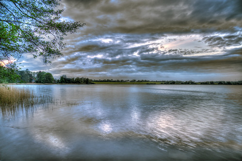blue clouds colors colorful horizont hdr sky landscape light lake nature outside reflexions reeds sunset sundown water