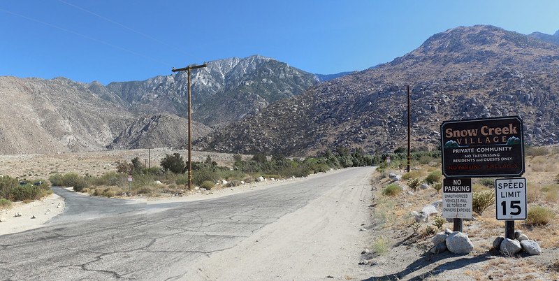 Looking south at San Jacinto Peak and the sign for Snow Creek Village as I continued looking for a campsite