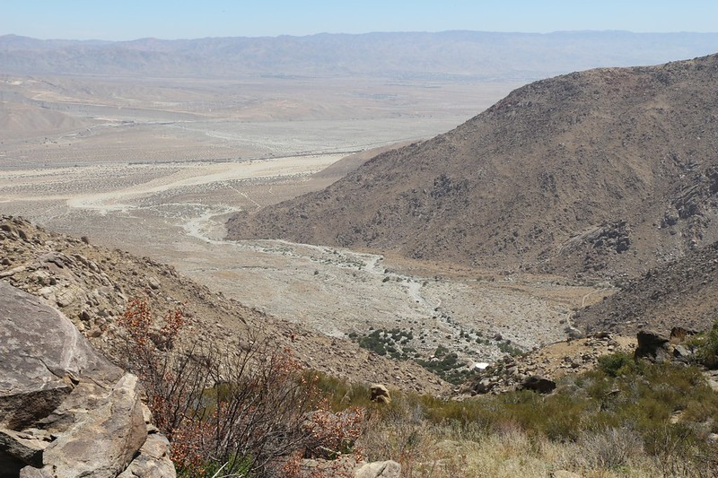 Looking down into the Snow Creek valley and the Desert Water Agency's water tanks