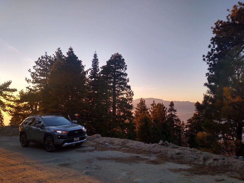 I drove up Black Mountain Road to the Fuller Ridge Trailhead, at sunset, with San Gorgonio across the way to the north