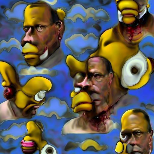 'surrealist Homer Simpson' Deep Daze Fourier Text-to-Image