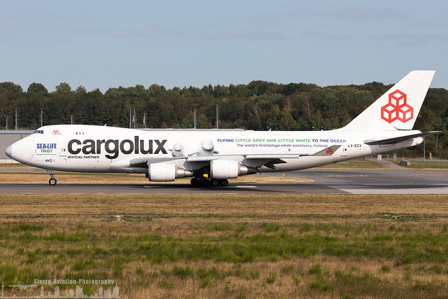 LX-ECV Cargolux Airlines International Boeing 747-4HQF(ER) painted in 'Beluga Whale Sanctuary' special colour (ELLX - LUX - Luxembourg)
