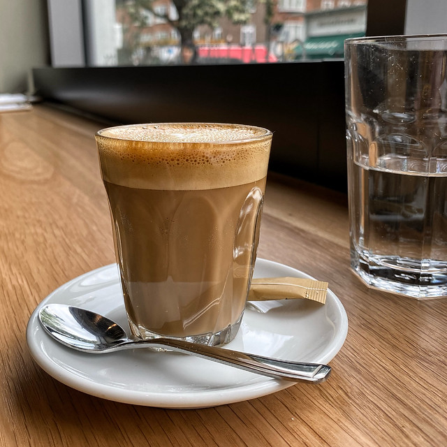 Testing the coffee in the newly opened Notes Coffee St Johns Wood