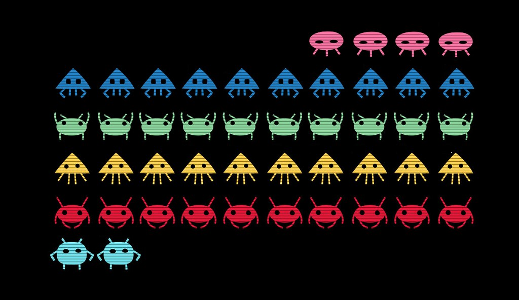 Aliens lined up in the style of the video game Space Invaders.
