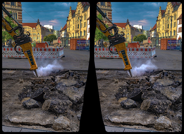Breaking up the road surface 3-D / CrossView / Stereoscopy