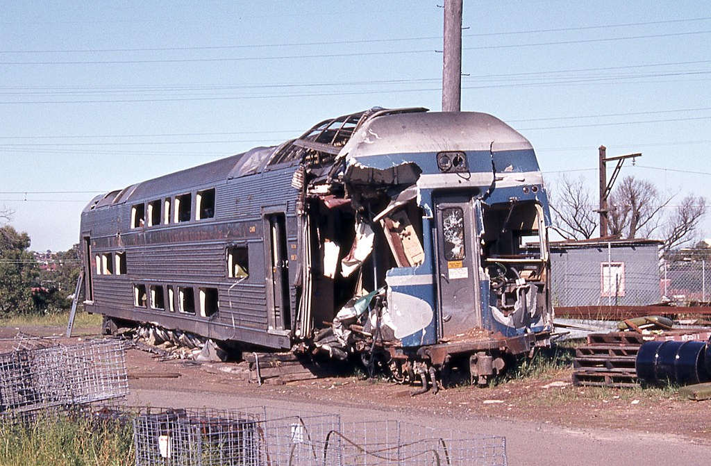 Damaged V Set Power Car, Punchbowl Electric Train Depot, Punchbowl, Sydney, NSW.
