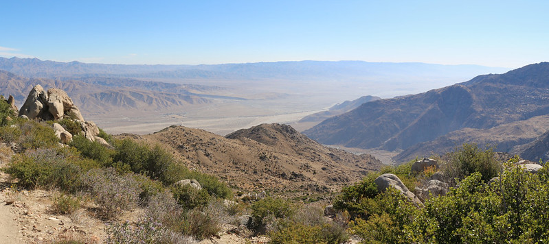 Panorama view east over the Coachella Valley with Snow Creek down below